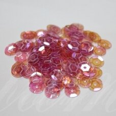 zvy0026- about 6.5 x 0.5mm, disk shape, transparent, pink color, ab cover, 10 g.