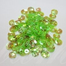 zvy0027- about 6.5 x 0.5mm, disk shape, green color, 10 g.