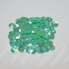 zvy0041- about 6.5 x 0.5mm, disk shape, light green - blue color, ab cover, 10 g.