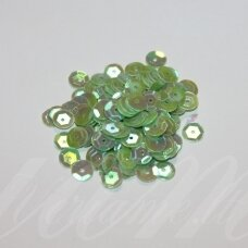 zvy0043- about 6.5 x 0.5mm, disk shape, light, green color, ab cover, 10 g.