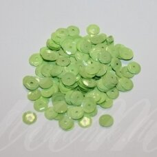 zvy0044- about 6.5 x 0.5mm, disk shape, light, green color, 10 g.