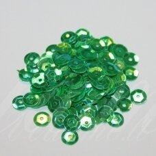 zvy0053- apie 6.5 x 0.5 mm, disko forma, žalia spalva, ab danga, 10 g.
