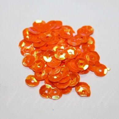 zvy0017- apie 6.5 x 0.5 mm, disko forma, oranžinė spalva, ab danga, 10 g.