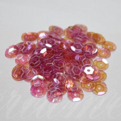 zvy0026- apie 6.5 x 0.5mm, disko forma, skaidri, rožinė spalva, ab danga, 10 g.