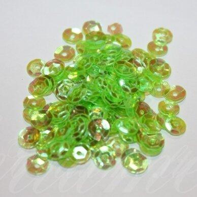 zvy0027- apie 6.5 x 0.5mm, disko forma, žalia spalva, 10 g.