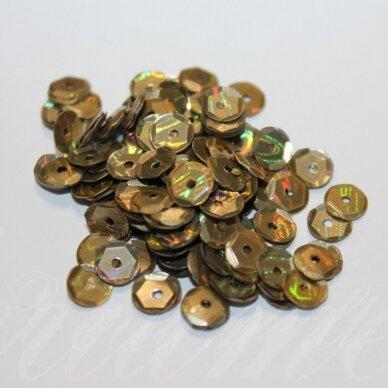 zvy0031- apie 6.5 x 0.5mm, disko forma, bronzinė spalva, ab danga, 10 g.