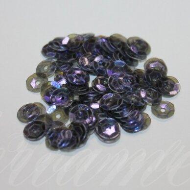zvy0036- apie 6.5 x 0.5mm, disko forma, skaidri, tamsi, mėlyna spalva, 10 g.