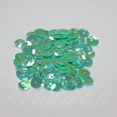zvy0041- apie 6.5 x 0.5mm, disko forma, žalsvai melsva spalva, ab danga, 10 g.