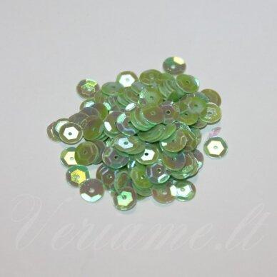 zvy0043- apie 6.5 x 0.5mm, disko forma, šviesi, žalia spalva, ab danga, 10 g.