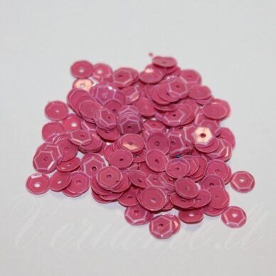 zvy0048- apie 6.5 x 0.5 mm, disko forma, rožinė spalva, 10 g.